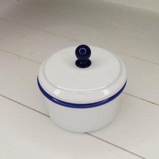 Emaille Vorratsdose klein mit dichtem Deckel, weiß mit blauem Rand