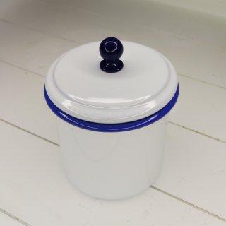 Emaille Vorratsdose mittel mit dichtem Deckel, weiß mit blauem Rand