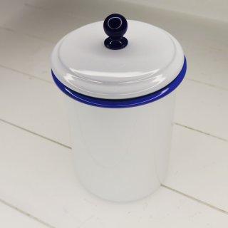 Emaille Vorratsdose groß mit dichtem Deckel, weiß mit blauem Rand