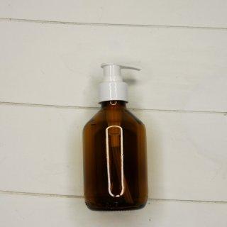 Braunglas Flasche mit weißem Pumpaufsatz 200 ml