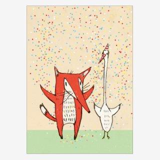 Noull Grußkarte Postkarte Fuchs Gans Konfetti