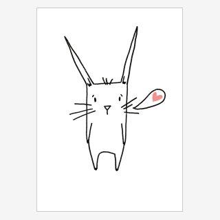 Noull Grußkarte Postkarte Hase Herzchen