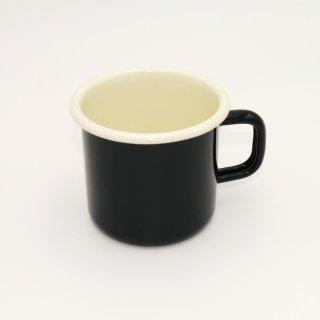 Emaille Becher 8 cm schwarz / creme