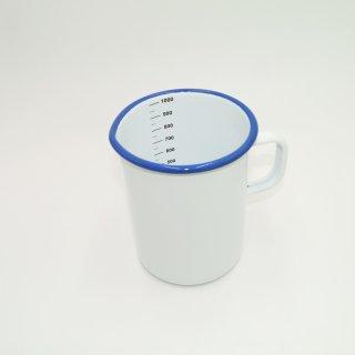 Emaille Messbecher weiß mit blauem Rand 1 Liter