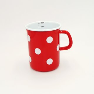 Emaille Messbecher rot mit weißen Tupfen 1 Liter