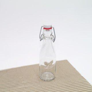 Klarglas Bügelflasche mit Porzellandeckel und Gummidichtung 200 ml