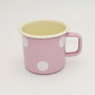 Emaille Becher 8 cm rosa mit weißen Tupfen
