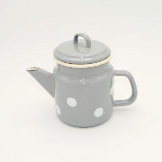 Emaille Teekanne 1 Liter Grau mit weißen Tupfen