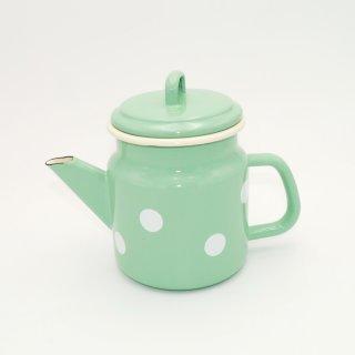 Emaille Teekanne 1 Liter Mint mit weißen Tupfen