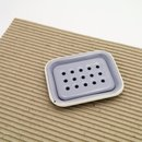 Emaille Seifenschale zweiteilig zum Stellen, grau