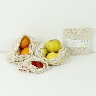 Einkaufsnetze aus Biobaumwolle 3er Set S / M / L