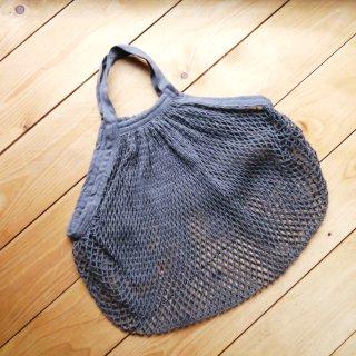 Einkaufsnetz aus Biobaumwolle kurzer Griff grau