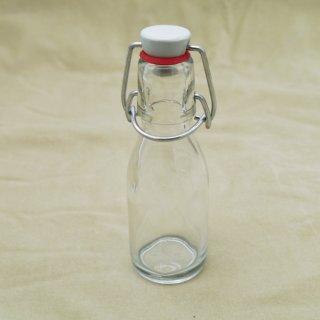 Klarglas Bügelflasche mit Porzellandeckel und Gummidichtung 100 ml