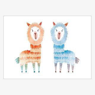 Noull Grußkarte Postkarte zwei Alpakas